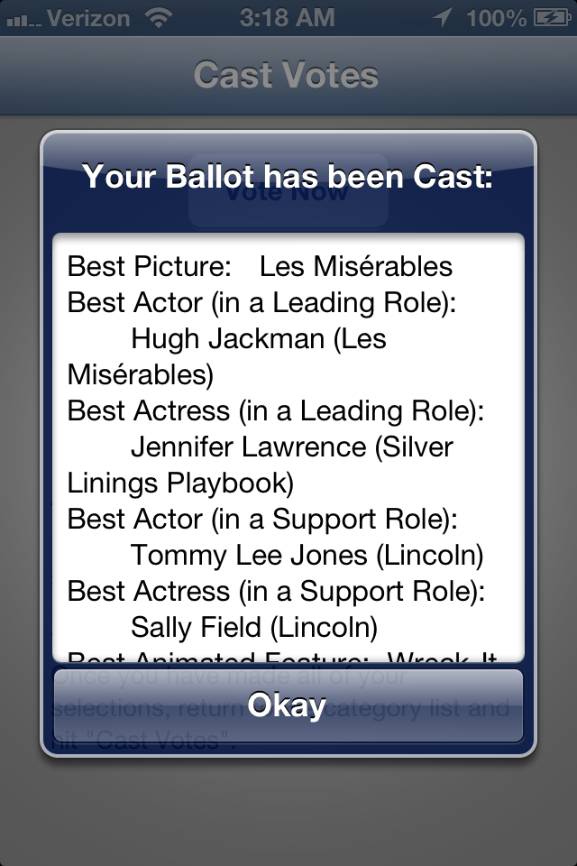 Screenshot Vote for the Oscars 2013